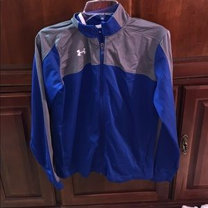 gray/blue under armour jacket